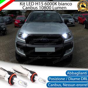 KIT FULL LED H15 FORD RANGER 10800 LUMEN CANBUS NO AVARIA 6000K BIANCO