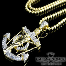 Yellow Gold On Sterling Silver Lab Diamond Jesus Anchor Pendant Charm Necklace