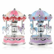 Horse Carousel Music Box Toy Light Clockwork Vintage Musical Birthday Purple