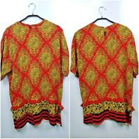 Vintage Gianni Versace Atelier Women's Shirt Baroque RARE Red Made in Italy