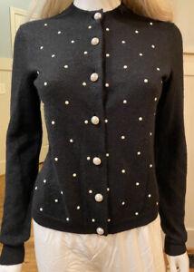 $5,045 CHANEL 2016 Pearl Black Cardigan Sweater 34 36 2 4 6 Coat Jacket Top M S