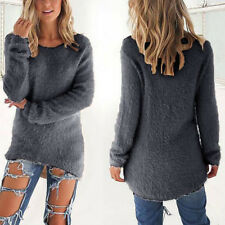 Women Knitted Sweater Long Sleeve Jumper Winter Warm Casual Pullover Tops Blouse Grey 14-16