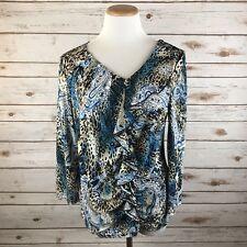 Milano Womens size Large Blue Cheetah Paisley Print Top Ruffle Blouse Stretch