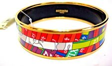 "HERMES GOLD PLATED PRINTED ENAMEL BRACELET 1"" FLUO AUTHENTIC NEW !!!!"