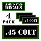 """45 COLT Ammo Can LABELS STICKERS DECALS for Ammunition Cases 3""""x1.15"""" 4 pack"""
