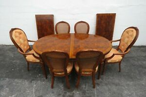 French Set of Parquet Top Dining Table Six Chairs and Two Leaves by Drexel 2244