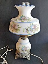 Vintage Milk Glass Hurricane Table Lamp Gone With The Wind Style 3 Way Light