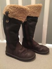 LOCARNO UGG AUSTRALIA TALL BROWN LEATHER & SHEEPSKIN BOOTS  size UK 6.5 EU 39