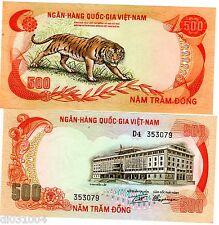 VIETNAM SUD SOUTH VIET NAM Billet 500 DONG ND 1972 P33 TIGRE BENGALE NEUF UNC