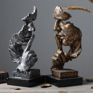 Art Decor Man Face Sculpture Thinker Statue Figurine Tabletop Male Ornaments UK