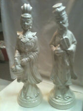 Vintage Pair Oriental Man and Woman Statues White Ceramic Chinese Figurines