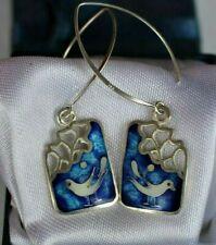 Moinek Handmade Enamel Silver Drop Earrings New Seagull Blue Ocean Jewellery by