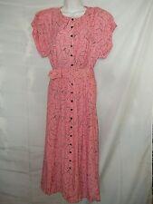 Ladies Size 9/10 Laine Vintage Dress Pink Mod Fabric Belted