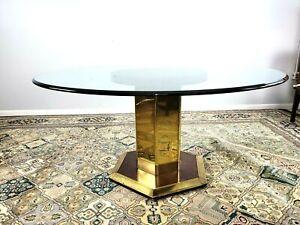 Henredon Mid Century Modern Pedestal Mahogany Dining Room Table Thick Glass Top