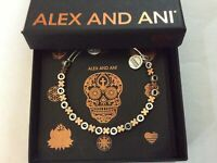 Alex and Ani XO Beaded Two-Tone Bangle Bracelet Rafaelian Silver NWTBC