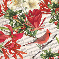 Cardinal & Holly Christmas Gift Wrap Tissue Paper- 10 Sheets