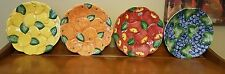 Set of 4 Fitz and Floyd Hand Painted Apple, Orange, Lemon & Grapes Plates