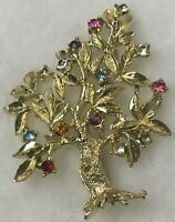 Vintage Rhinestone Dodds Goldtone Tree Costume Brooch Pin Genealogy Family