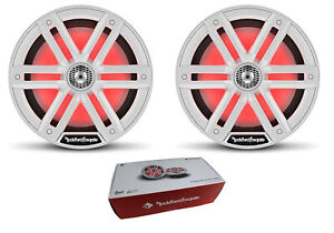 "Pair of Rockford Fosgate 8"" White 2000W 4 Ohm Color Optix Marine 2-Way M2-8"