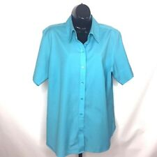 Talbots Woman Top Sz 14W Turquoise Blue Wrinkle Resistant Stretch Blouse Career
