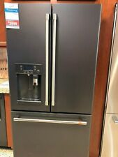 "CYE22UP3MD1-GE CAFE 36"" FRENCH DOOR FRIDGE MATTE BLACK STAINLESS HANDLES DISPLAY"