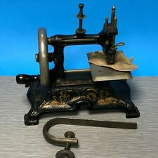 Antique Childs Sewing Machine Toy Germany Hand Crank W Flowers & Vines #15