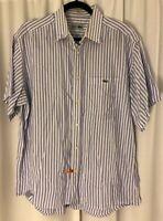 Chemise Lacoste Men's Button Front Shirt Size 44 Short Sleeve Locker Loop