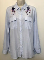 Express Medium Button Down Shirt Blue White Long Sleeve Embroidered Tunic