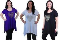 Ladies Plus Size Short Sleeve Leopard Print Stud Heart Casual Long T-Shirt Top