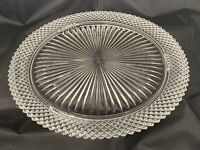 Vintage Anchor Hocking Miss America Clear Depression Glass Footed Cake Plate 12""