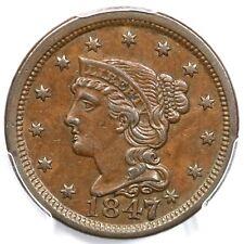 1847/47 PCGS AU 55 Braided Hair Large Cent Coin 1c Ex; Conour