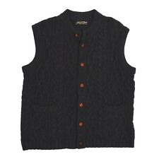 VINTAGE Pullunder Sweater Vest Weste 100% Wolle Wool Waistcoat Cableknit Grau Ch