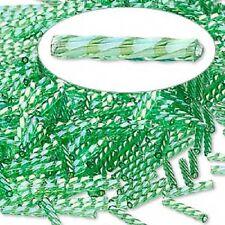 Spiral Bugle Beads 12mm Rainbow Green 100 Beads