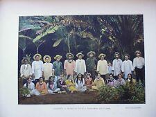 Océanie:Gravure 19°in folio couleur/ indigènes: iles de la Société réunis(danse)
