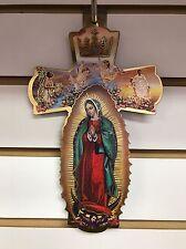 Virgen de Guadalupe Wooden Wall Cross Cruz de madera con la Virgen de Guadalupe