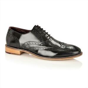 London Brogues Formal Smart Leather Mens Shoes Black Size 13