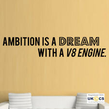 Wall Stickers Ambition Dream V8 Engine Car Quote Motivation Art Decal Vinyl Room
