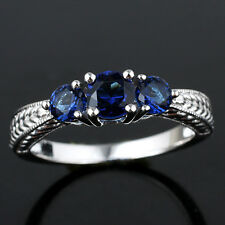 3-stone Sapphire Blue 925 Sterling Silver Ring Size 7 September Birthstone