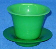Peking Glass, Green Cup and Saucer, incised CHINA.