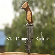 Handmade Damascus Steel Hunting Bowie Knife Rose Wood&Olive Wood Handle VK3090