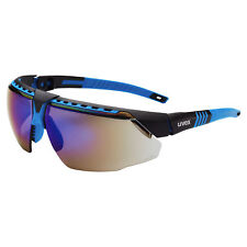 Uvex Avatar Safety Glasses with Blue Mirror Lens, Blue Frame