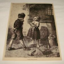1876 magazine engraving ~ BOY & GIRL, Which Hand Is It In?