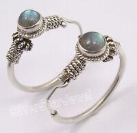 "925 Sterling Silver BLUE FIRE LABRADORITE TRIBAL HOOP Earrings 1.2"" HANDMADE"