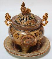 Collectibles oriental Japanese satsuma porcelain incense burner