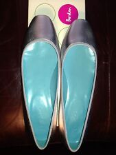 BODEN SILVER SNAKESKIN SQUARE TOE LEATHER SLIP ONS FLATS size 40 NEW $118.00