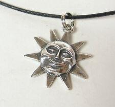 Sol Esfera COLLAR CON COLGANTE .925 Plata de Ley CORDÓN NEGRO HECHO EN USA