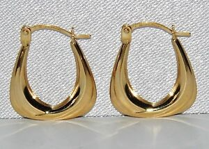 9CT YELLOW GOLD HANDBAG CREOLE HOOP EARRINGS - SOLID 9CT GOLD
