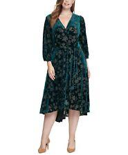 Calvin Klein NWT MALACHITE GREEN Velvet Burnout Midi Dress, size 12
