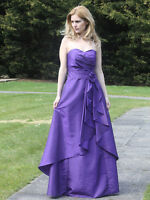 Purple silk taffeta bridesmaid evening wedding party prom dress SZ 8-22