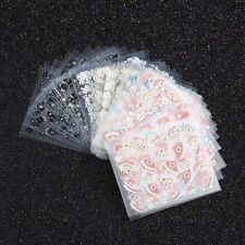 lot 5 feuilles 3D  stickers ongles nail art -- fleurs coeurs plumes papillons